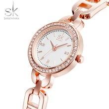 Женские Водонепроницаемые кварцевые часы с браслетом из нержавеющей