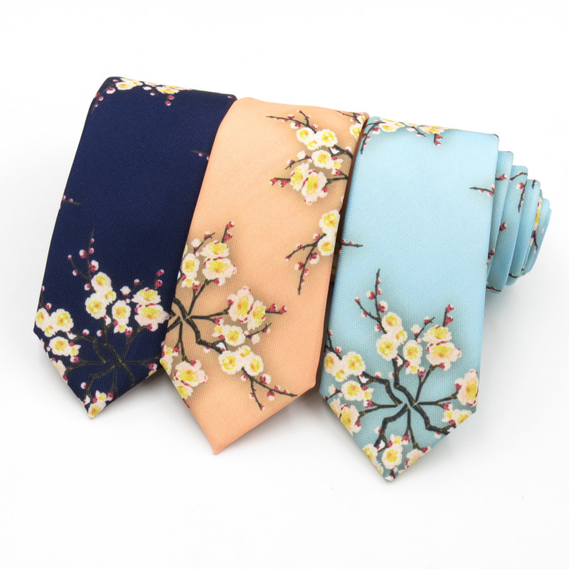 Tie Men Fashion Personality 6cm Man Necktie Flowers Men's Women's Plum Blossom Design Korean Casual Narrow Ties Gravata