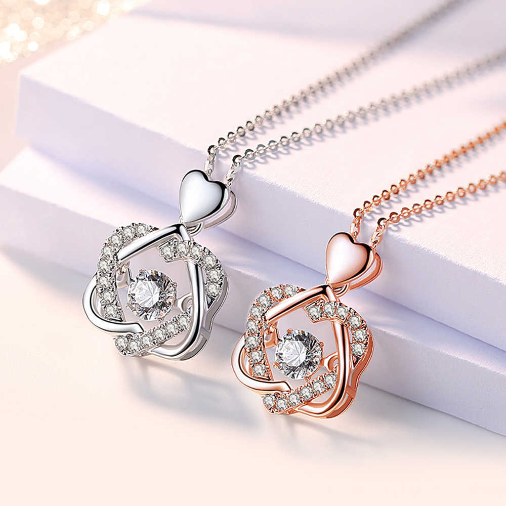 I Love you Necklace- Sterling Silver Heart Love Pendant Necklace with Zircon -Heart Necklace -