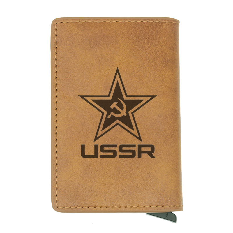 Classic Soviet USSR Soviet Badges Sickle Rfid Card Holder Men Wallets Brown Vintage Short Purse Leather Slim Wallets Mini Wallet