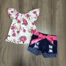 חדש כניסות קיץ תינוק בנות ילדי בגדי ג ינס מכנסיים קצרים חם ורוד פרחוני פרח דפוס תלבושות ראפלס בוטיק סט