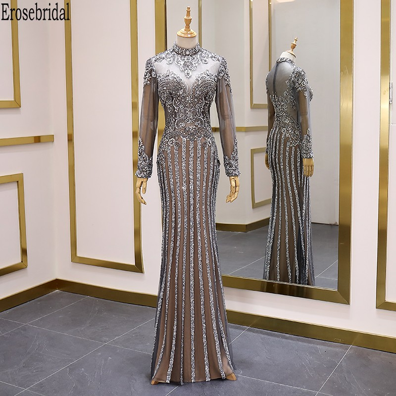 Erosebridal Long Sleeve Evening Dress 2020 Trend Luxury Beads Mermaid Prom Dress Long Formal Dress Evening Gown Zipper Back