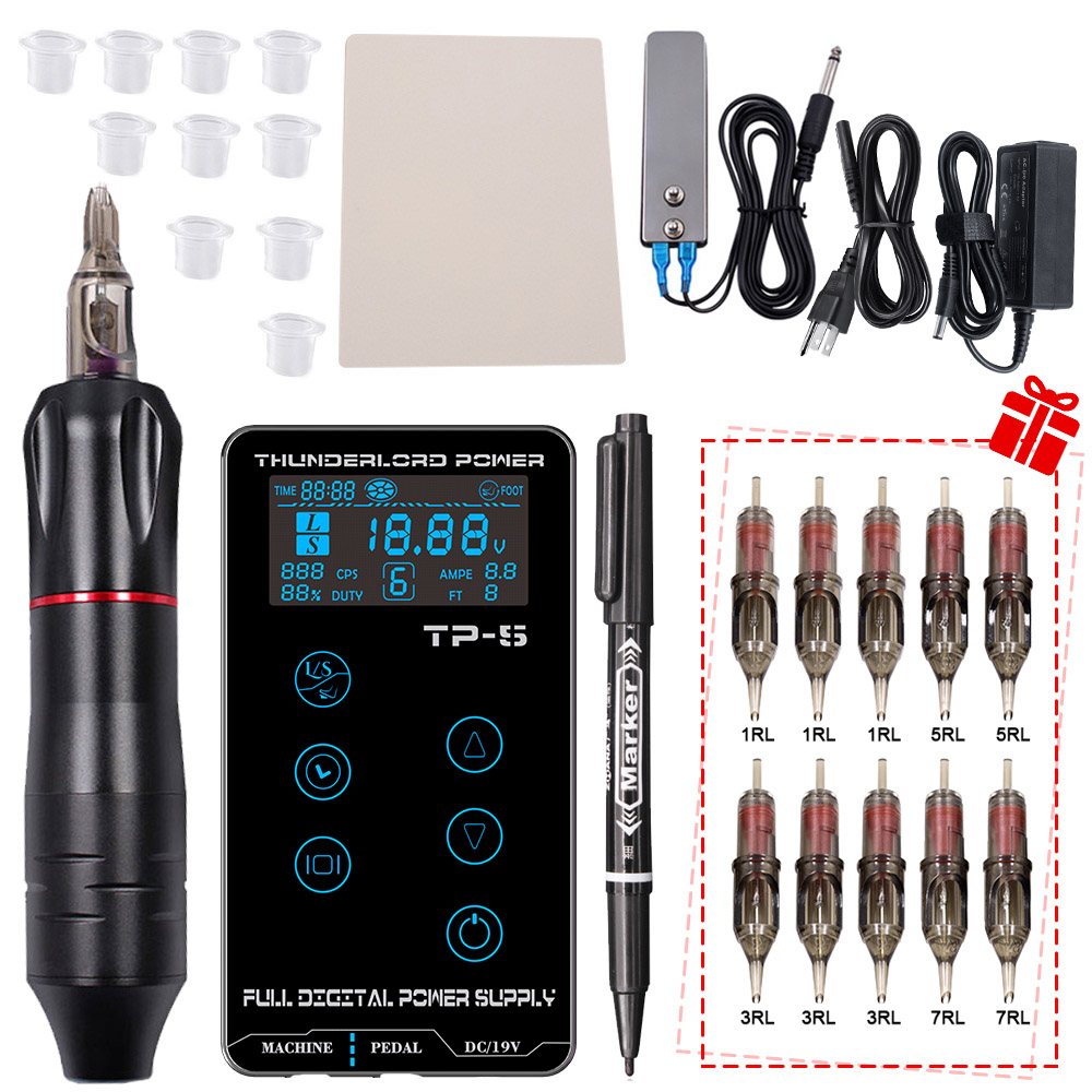 Professional Rotary Tattoo Machine Set Tattoo Pen Power Supply Foot Pedal Cartridges Needles Kit For Tattoo Body Eyebrow Art