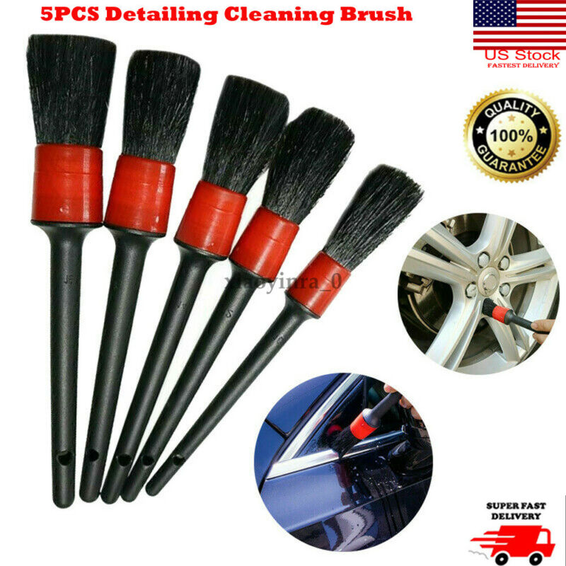 US 5Pcs Natural Boar Hair Detail Brush Set Automotive Detailing For Car Cleaning