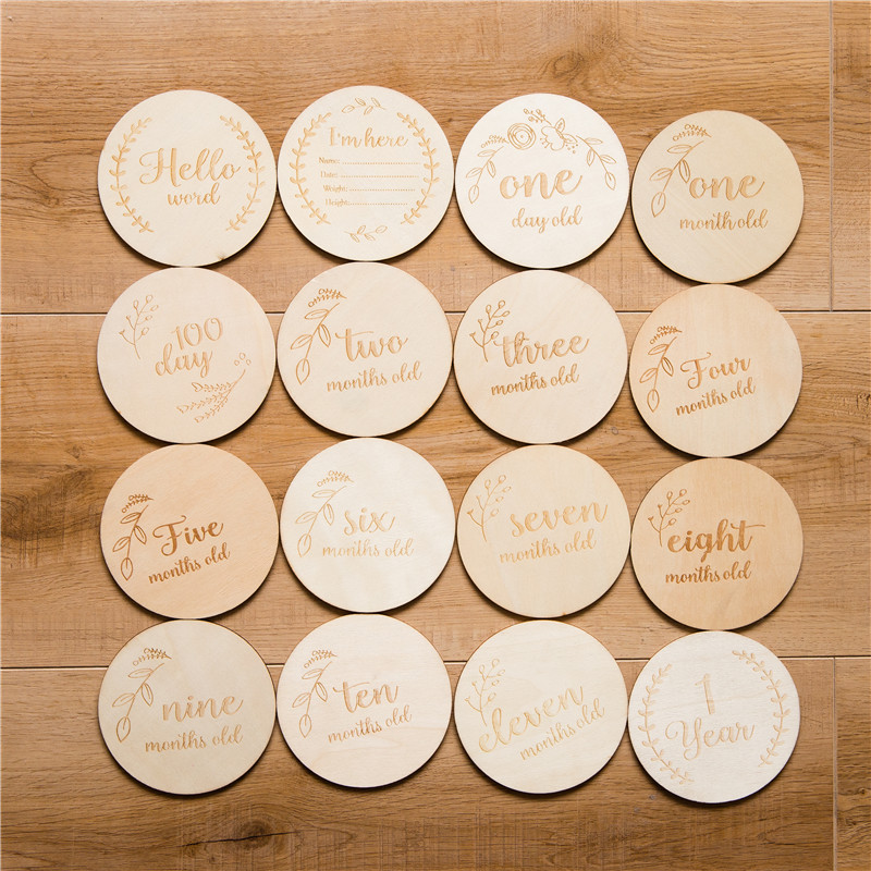 4/12/16 Pcs Baby Month Milestone Card Wooden Baby Birth Month Recordding Number Commemorative Baby Milestone Wood Clip DIY Tool