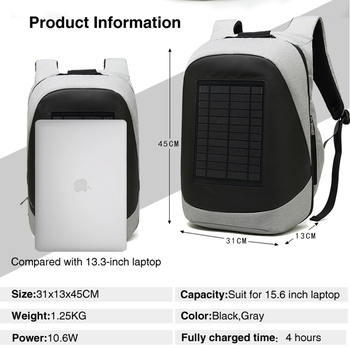 Multifunction Solar Energy Rechargeable Backpack Men Anti Thief Waterproof 15.6 inch USB Charging Laptop Backpack Travel Bags 6