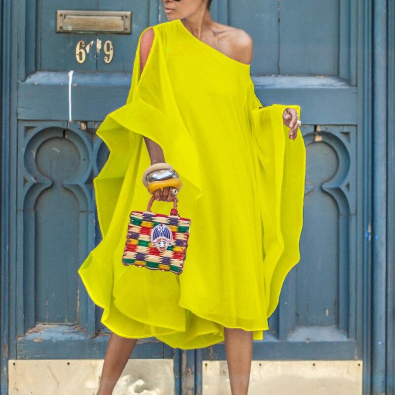 Şifon kapalı omuz elbiseler gevşek yaz kadın moda boy gevşek tatil Beachwear kadın Vestidos artı boyutu XXL yeni 2021
