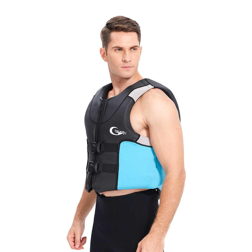 YONSUB 두꺼운 높은 부력 성인 구명 조끼 네오프렌 구조 낚시 구명 조끼 수상 스포츠 장비 모터 보트 수영 서핑