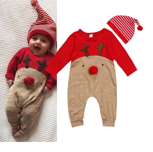Nowonarodzone dziecko chłopcy dziewczęta boże narodzenie renifer Romper ubrania Cartoon Deer Xmas kombinezon z długim rękawem w paski kapelusz 0-24M