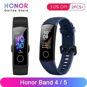 Image 1 - Huawei honor band 4 banda 5 0.95 polegadas amoled tela colorida 5atm impermeável nadar postura detectar freqüência cardíaca sono snap