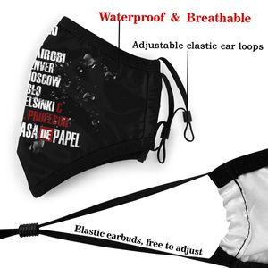 Image 5 - La Casa De Papel maska ochronna na twarz La Casa De Papel maska na twarz Kawai zabawna z 2 filtrami dla dorosłych