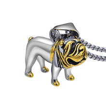 Mens Lovely Bulldog Pendant Necklace Punk Vintage Gold Color Pit Stainless Steel Necklaces Jewelry