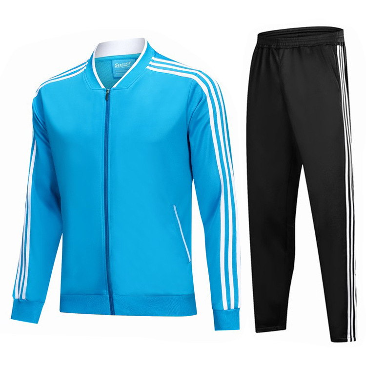 Sky Blue Trilateral Stripes Sports Jackets Autumn And Winter Fashion Outdoor Clothing Football Training Long-sleeve Suit Uniform