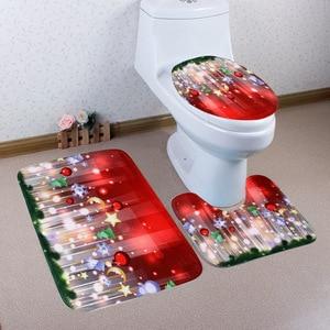 Image 3 - 크리스마스 목욕 매트 WC 변기 커버 화장실 매트 화장실 타파 Inodoro 장식 크리스마스 욕실 화장실 변기