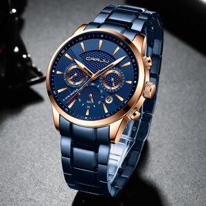 Image 3 - CRRJU رائجة البيع رجال الأعمال ساعة موضة الأزرق كرونوغراف الفولاذ المقاوم للصدأ ساعة اليد عادية مقاوم للماء ساعة relogio masculino
