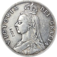 UK 1888 1 Florin-Victoria 2nd ritratto monete copia(China)