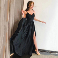 Smileven Sexy Black Formal Evening Dress Side Split Train Prom Dress Women Long Evening Party Gown Custom Made