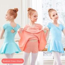 Suits Gymnastics-Leotards Shorts Ballet-Dress Girls Kids Children Cotton