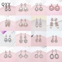 QYY Newest Austrian Crystal Wedding Earrings Bridal Water Drop Earring  Long Fashion Jewelry ERS-J3008