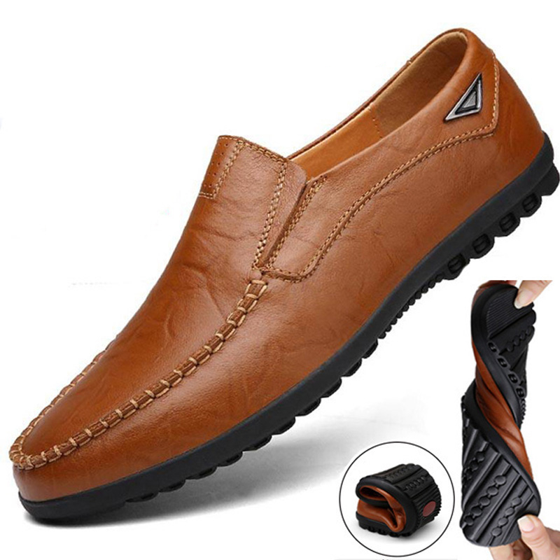 Genuine Leather Men Casual Shoes Luxury Brand Mens Loafers Moccasins Breathable Light Soft Black Driving Shoes Plus Size 38-47