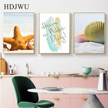 Nordic Beach Shells Canvas Painting Wall Picture Home Printing Posters Pictures for Living Room  AJ00372