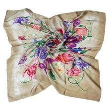 Silk scarf woman 110cm flower print square silk head plain summer luxury shawls bandana beach wear mujer
