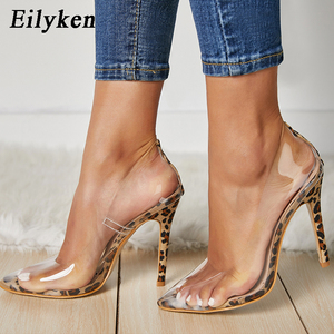 Image 1 - Eilyken/прозрачные туфли лодочки из ПВХ с леопардовым принтом женские Вечерние туфли на высоком каблуке шпильке босоножки лодочки для ночного клуба; Размеры 35 42