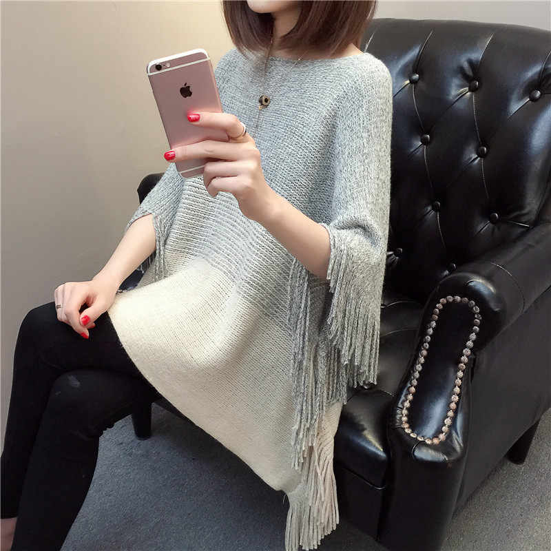 Knitted O-Neck Cloak Sweater Batwing Short Sleeve Striped Women Casual Pullover Coat Autumn Winter Femme Tassel Poncho Capes