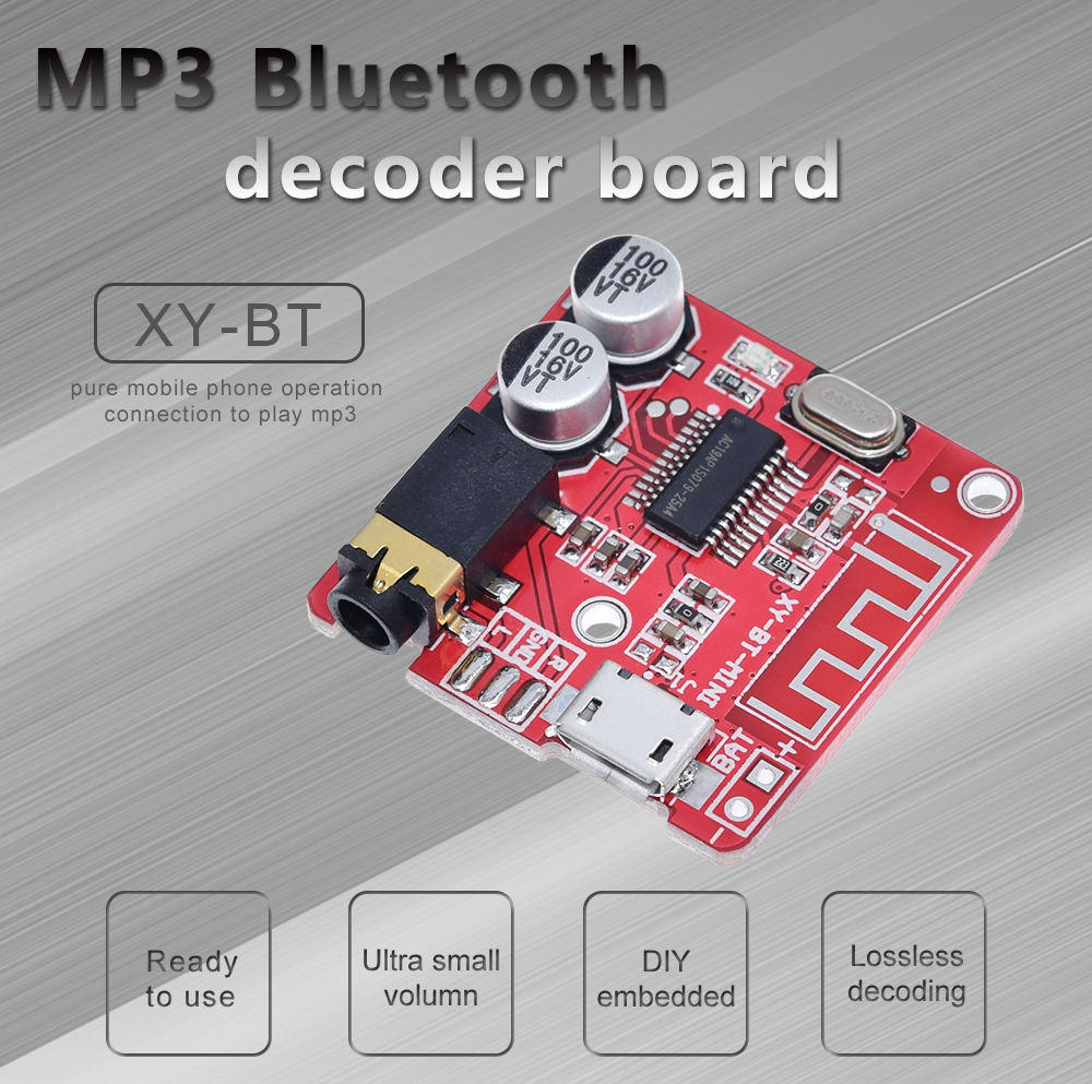 DIY Bluetooth Audio Receiver board Bluetooth 4.0 4.1 4.2 5.0 MP3 Lossless Decoder Board Wireless Stereo Music Module 3.7 5V|Integrated Circuits|   - AliExpress