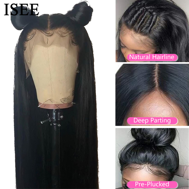 ISEE HAIR Straight Lace Front Human Hair Wigs For Women 13X6 HD Lace Frontal Wig 4X4 Long Malaysian Straight Lace Closure Wig 3