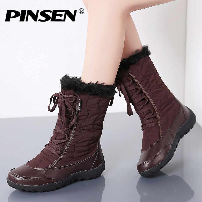 PINSEN yüksek kalite kadınlar kış takozlar kar botları ayakkabı bayanlar peluş orta buzağı çizmeler kadın sıcak kaymaz su geçirmez kar botları