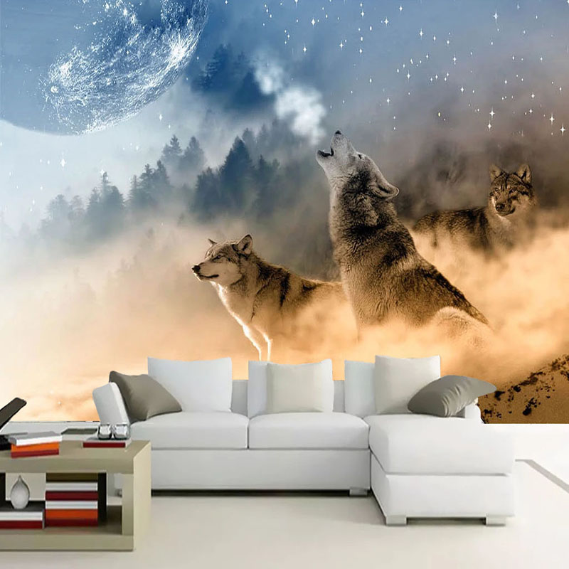 Custom 3D Wallpaper Modern HD Starry Sky Planet Wolves Animal Murals Abstract Art Living Room Bedroom Background Wall Paintings