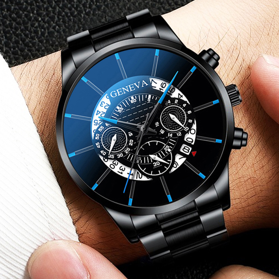 GENEVA Luxury Men's Fashion Business Calendar Showing Blue Stainless Steel Mesh Belt Analog Quartz Watch Relogio Masculino Date