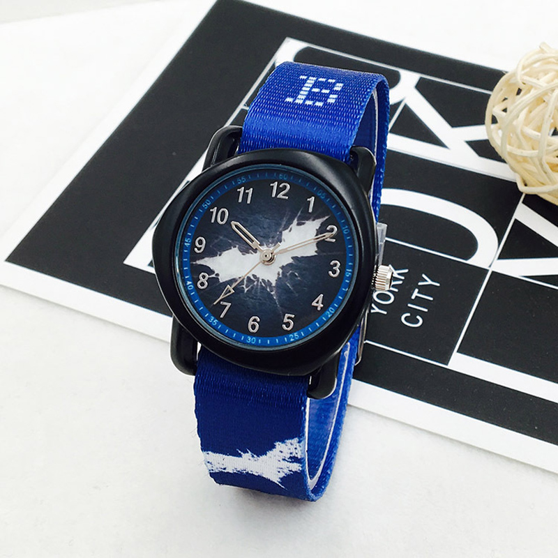 Fashion Batman Watch For Boy Irregular Dial Kids Watches Boys Waterproof Canvas Strap Cartoon Children Watch Clock Montre Enfant