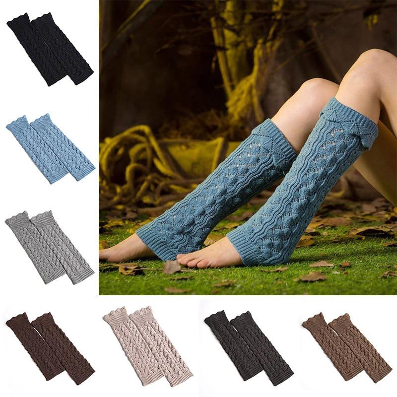 Women Lady Knee High Socks Knit Crochet Winter Warmer Leggings Gloves Boot Cover