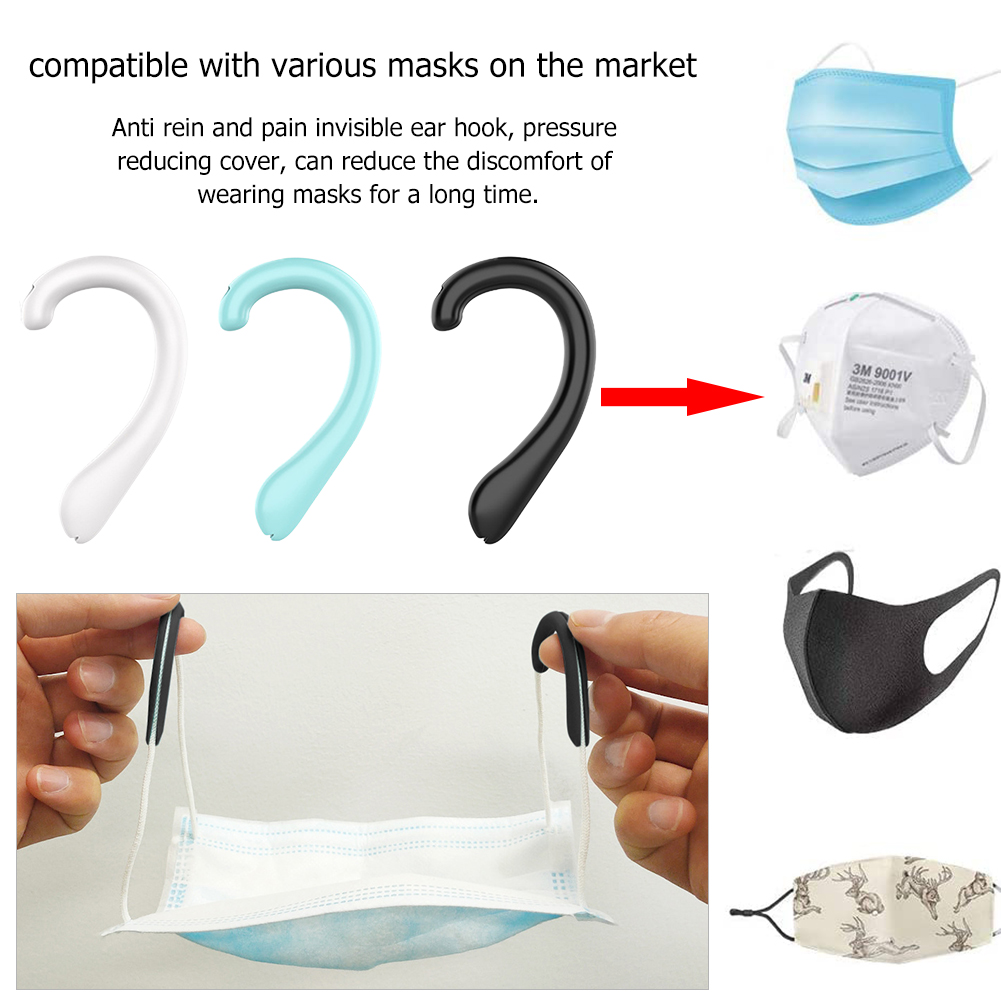 Anti-Slip Ear Pain Relief Protection Loops 1Pair Silicone Face Ear Hooks Ear Pain Adjustable Hanging Buckles