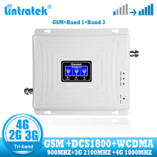Lintratek gsm 2g 3g 4g sinal impulsionador repetidor banda tri celular gsm 900 dcs 1800 wcdma 2100 4g amplificador de sinal