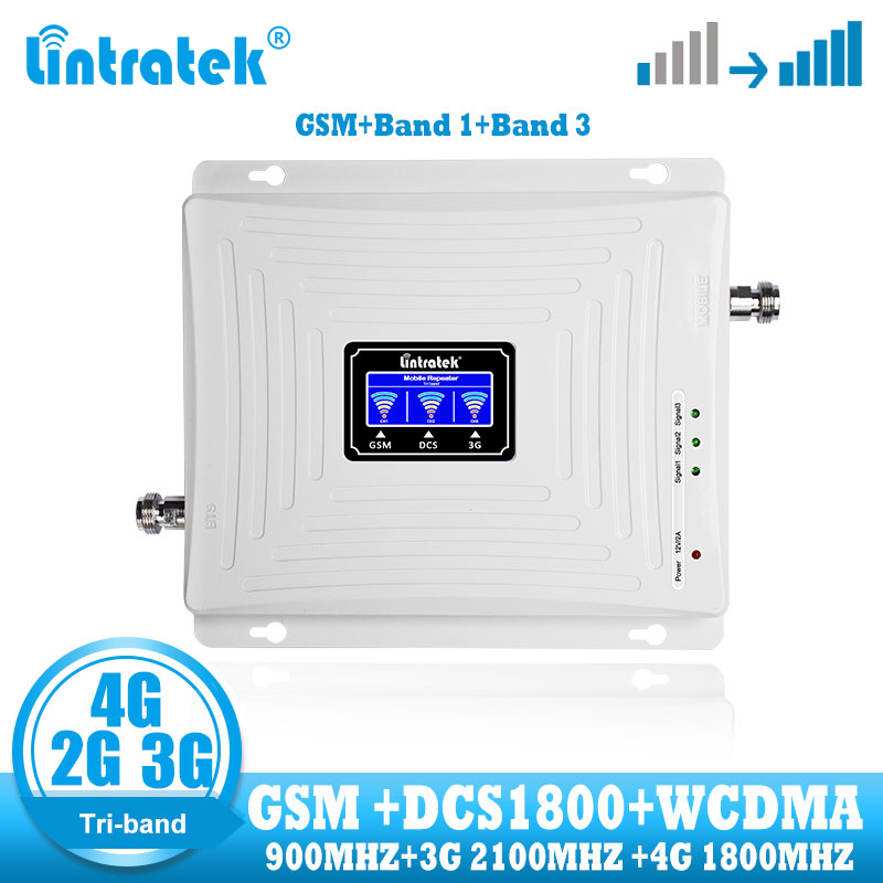 Lintratek GSM 2G 3G 4G Signal Booster Repeater Tri Band Mobile Phone Cellular Gsm 900 DCS 1800 Wcdma 2100 4g Signal Amplifier