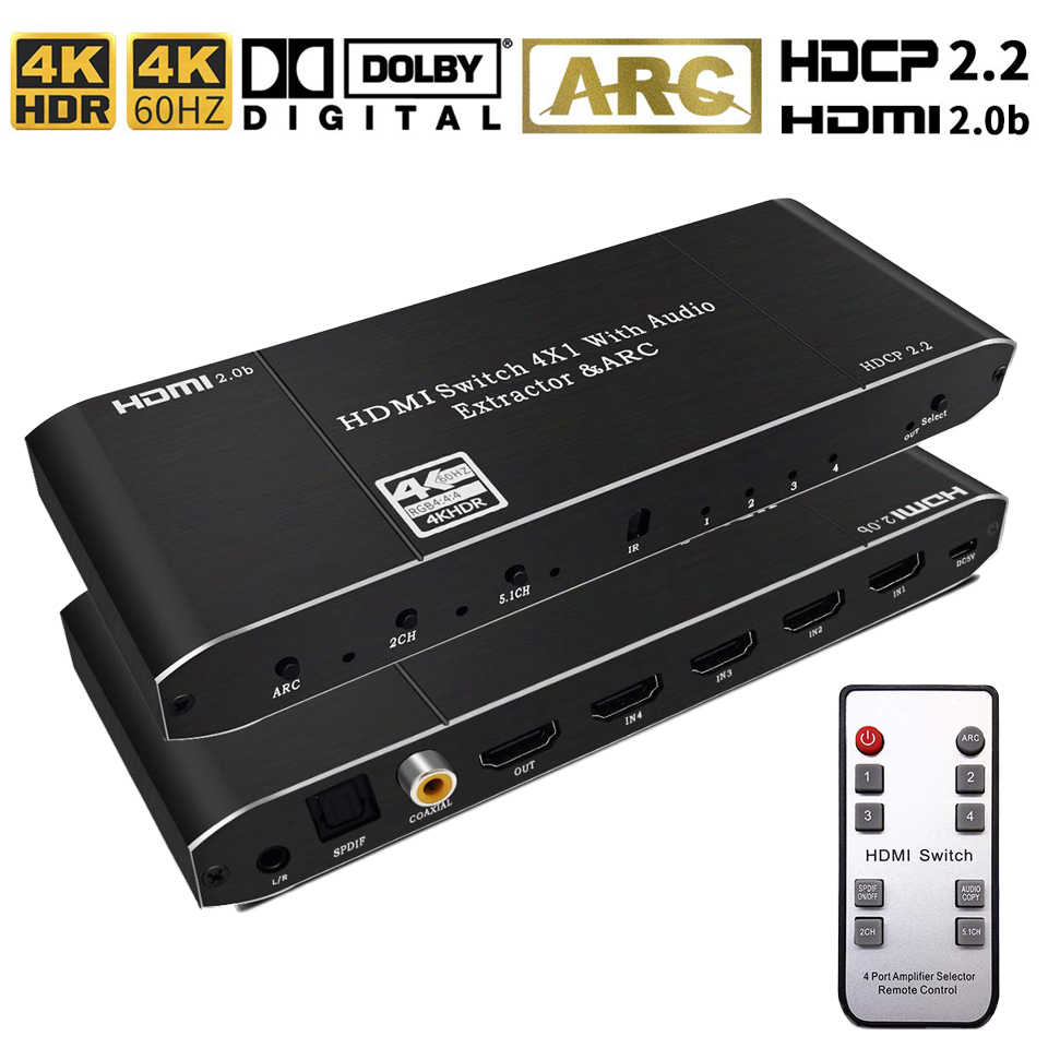 2019 beste 4K HDMI 2,0 Schalter mit ARC & IR 4x1 HDMI Switch Remote 4K 60 hz 2x1 HDMI Schalter Audio Extractor Für PS4 Apple TV HDTV