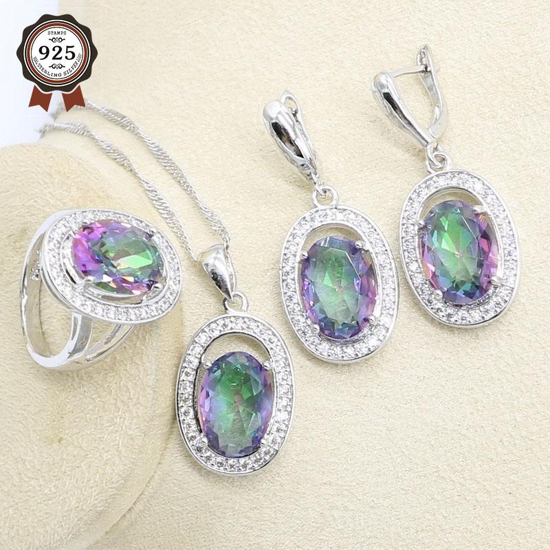 Jewelry-Set Pendant-Ring Bracelet Zircon Rainbow Birthday-Gift 925-Silver Multicolor