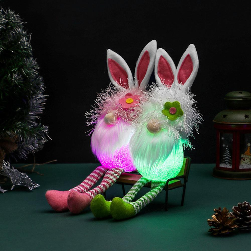 Bunny Plush Toy Easter Bunny Children's Plush Toy Luminous Jewelry Ornaments Home Decoration Luminous Mold Children's Gifts