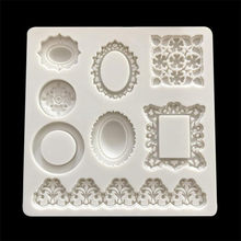 クラシックフレーム型フォンダン金型ミラーケーキデコレーションツールチョコレートgumpaste金型sugarcraftキッチンガジェット