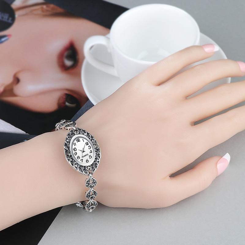 QINGXIYA Brand Women's Watches Antique Silver Ladies Watch Women Quartz Watches Luxury Bracelet Clock Reloj Mujer Montre Femme