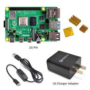 Image 3 - ラズベリーパイ 4 モデル b キットの基本的なスターターキットと在庫電源スイッチラインタイプ c インタフェース eu/米国充電アダプタとヒートシンク