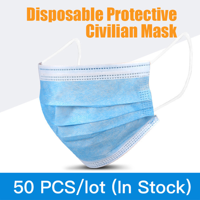 50pcs 3-layer Disposable Masks for Civil Use Cotton Mouth Mask Anti Dust Mask Windproof for Adults Bacteria Proof Flu Face Masks
