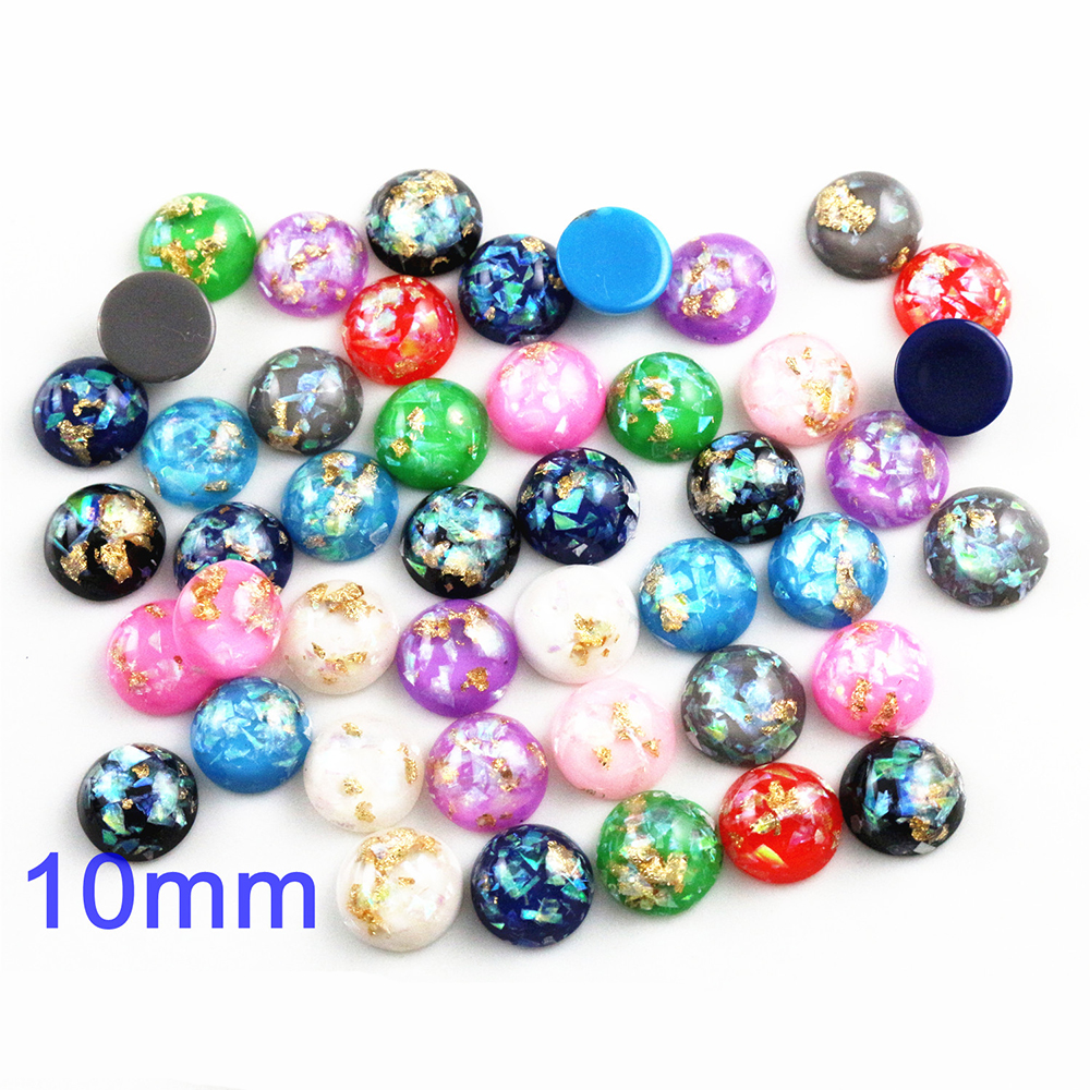 New Fashion 10mm 40pcs/Lot Mix Color Built-in Metal Foil Flat Back Resin Cabochons Cameo