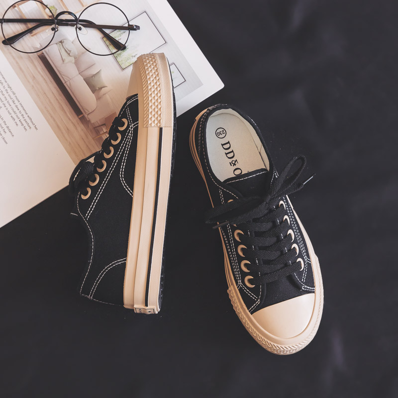 Sneakers Women 2020 New Fashion Women Canvas Shoes Casual Flats Black Shoes Women High Quality Solid Color Sneakers Korean Style