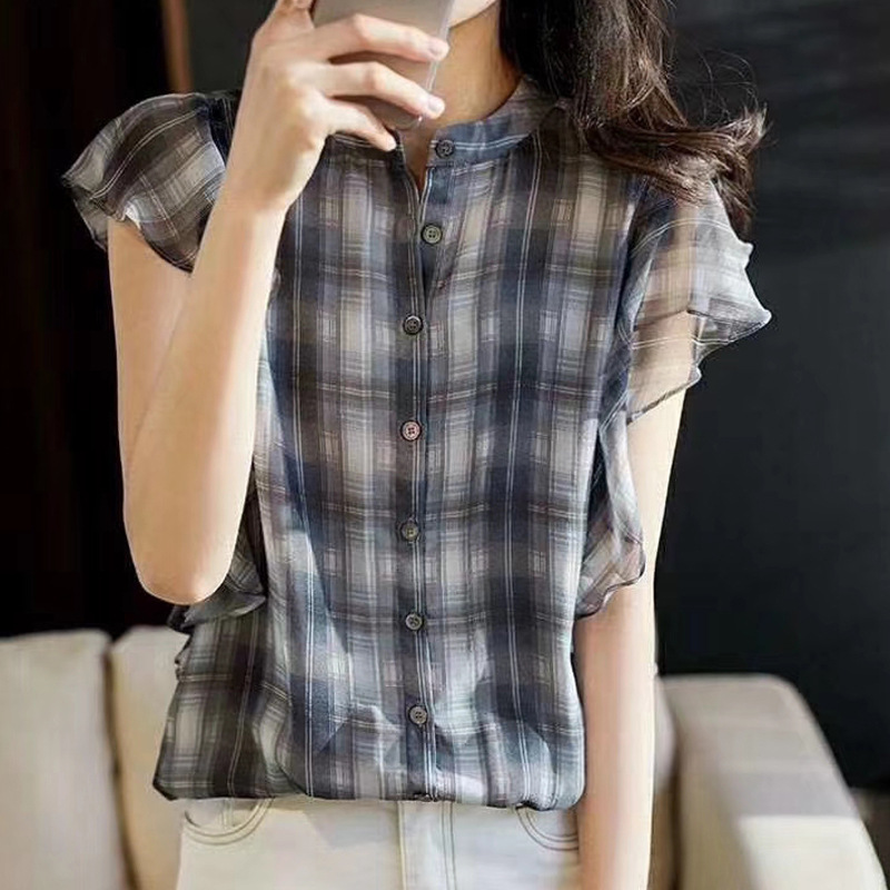 Plaid Silk Shirt All-match Slim Temperment Boutique Shirt Women's New Flounced Sleeves Fashion Women's 2020 Summer 100% Silk