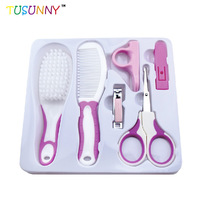 TUSUNNY 6 in 1 Baby Care Kit Infant Grooming Set Nail Clippers Comb Cleaning and Drying Infant Baby Daily Caring Waterproof