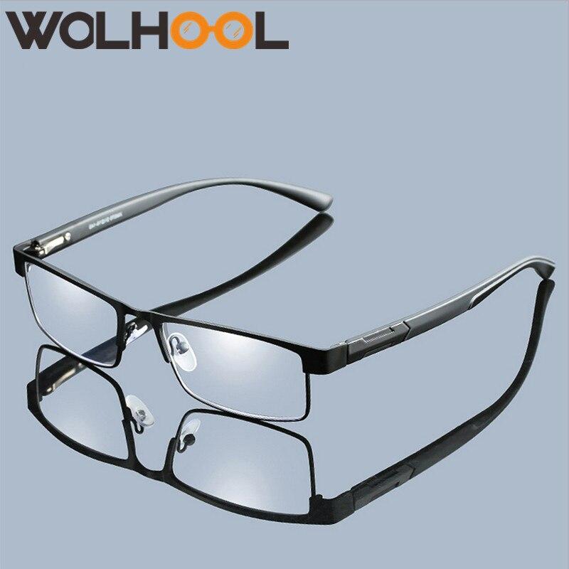Wolhool Men Titanium Alloy Reading Glasses Non Spherical 12 Layer Coated Lenses Retro Business Hyperopia Prescription Eyeglasses